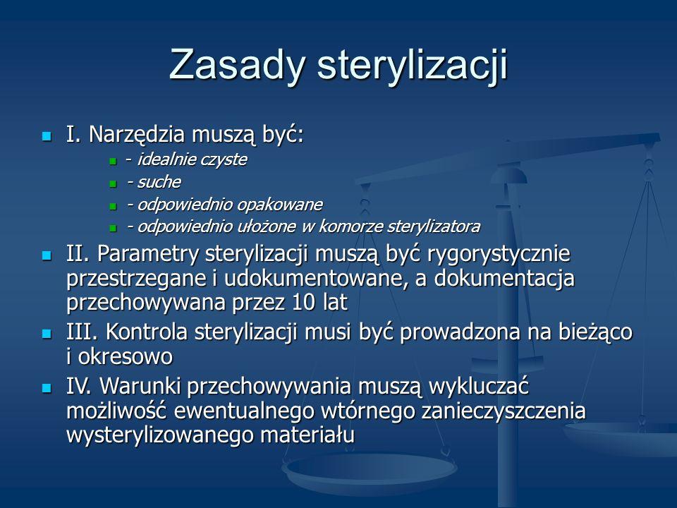 Zasady sterylizacji I. Narzędzia muszą być: