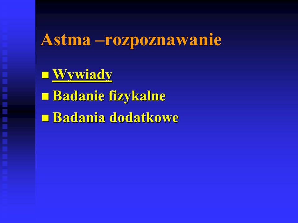 Astma –rozpoznawanie Wywiady Badanie fizykalne Badania dodatkowe