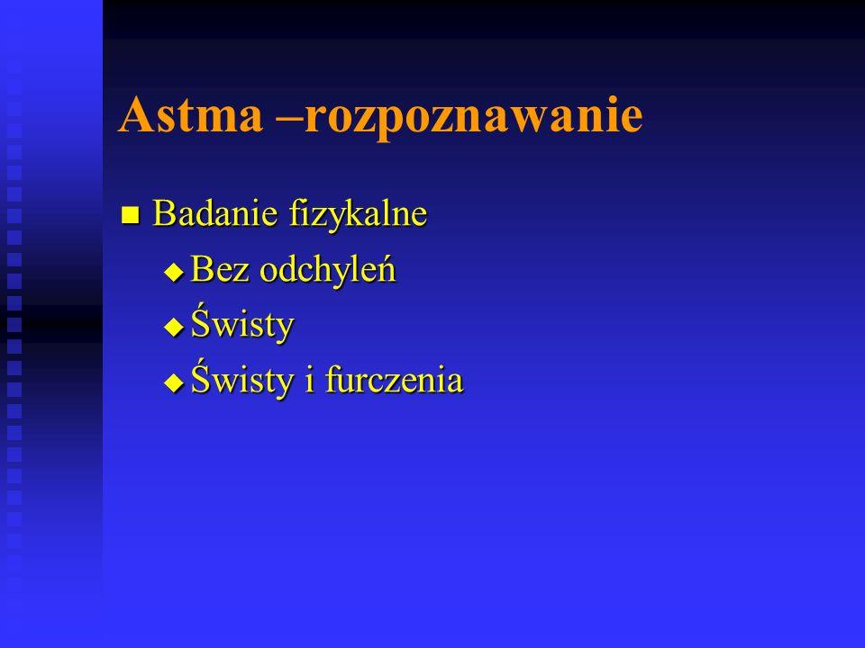 Astma –rozpoznawanie Badanie fizykalne Bez odchyleń Świsty
