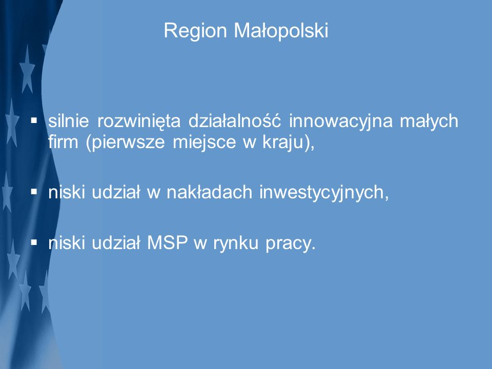 Region Małopolski silnie rozwinięta działalność innowacyjna małych firm (pierwsze miejsce w kraju),