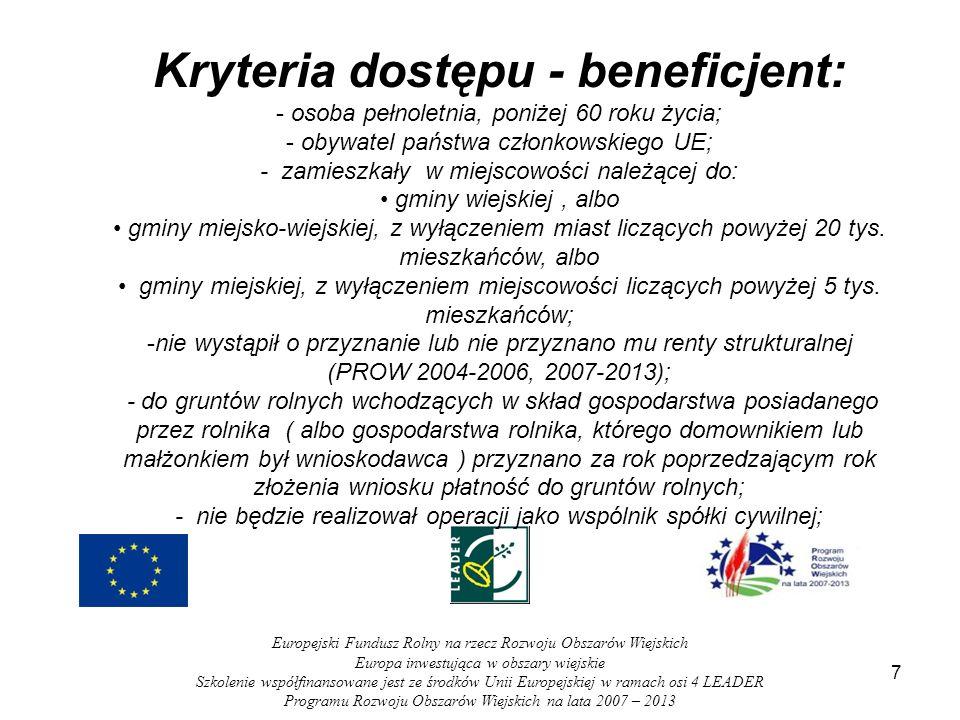 Kryteria dostępu - beneficjent: