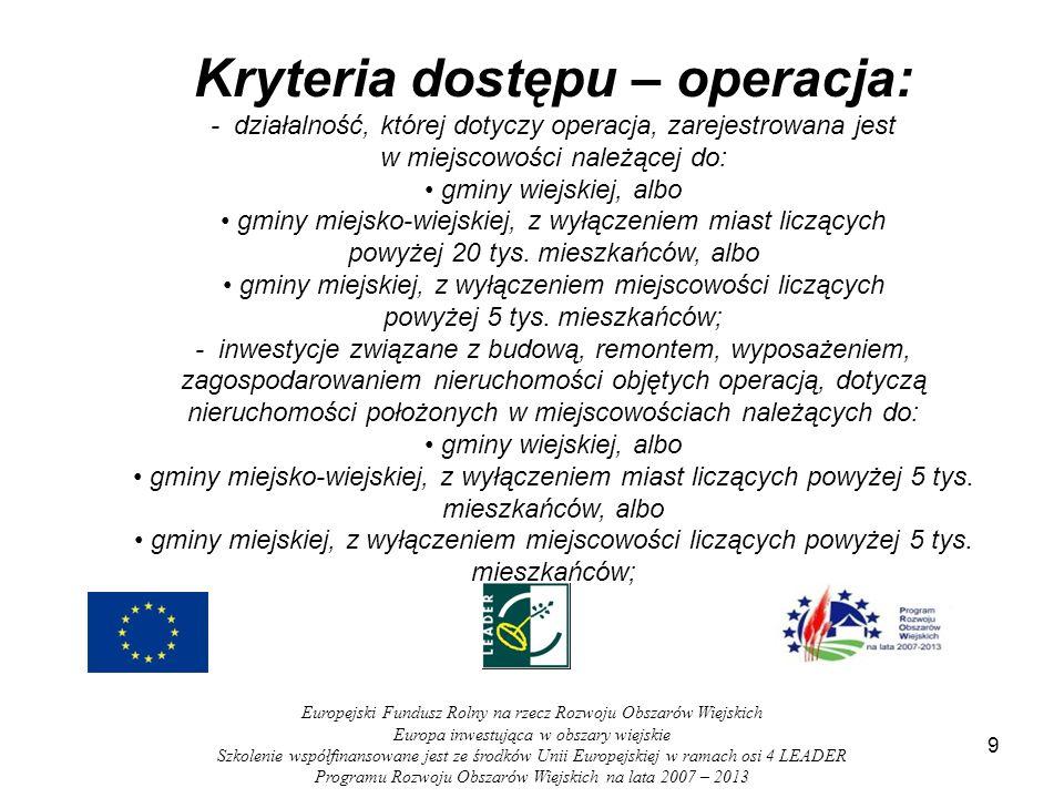 Kryteria dostępu – operacja: