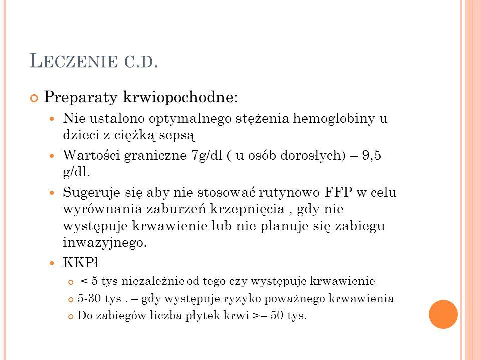 Leczenie c.d. Preparaty krwiopochodne:
