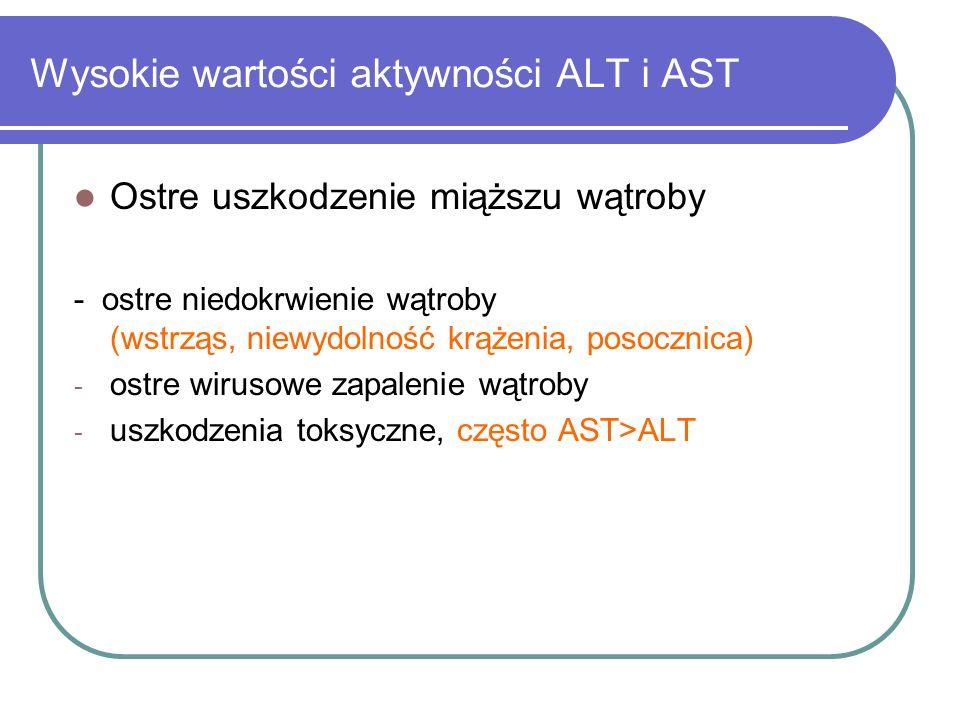 Wysokie wartości aktywności ALT i AST