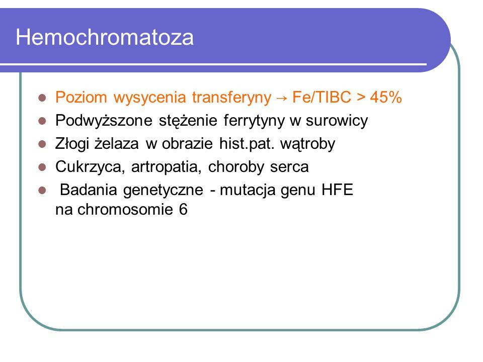 Hemochromatoza Poziom wysycenia transferyny → Fe/TIBC > 45%