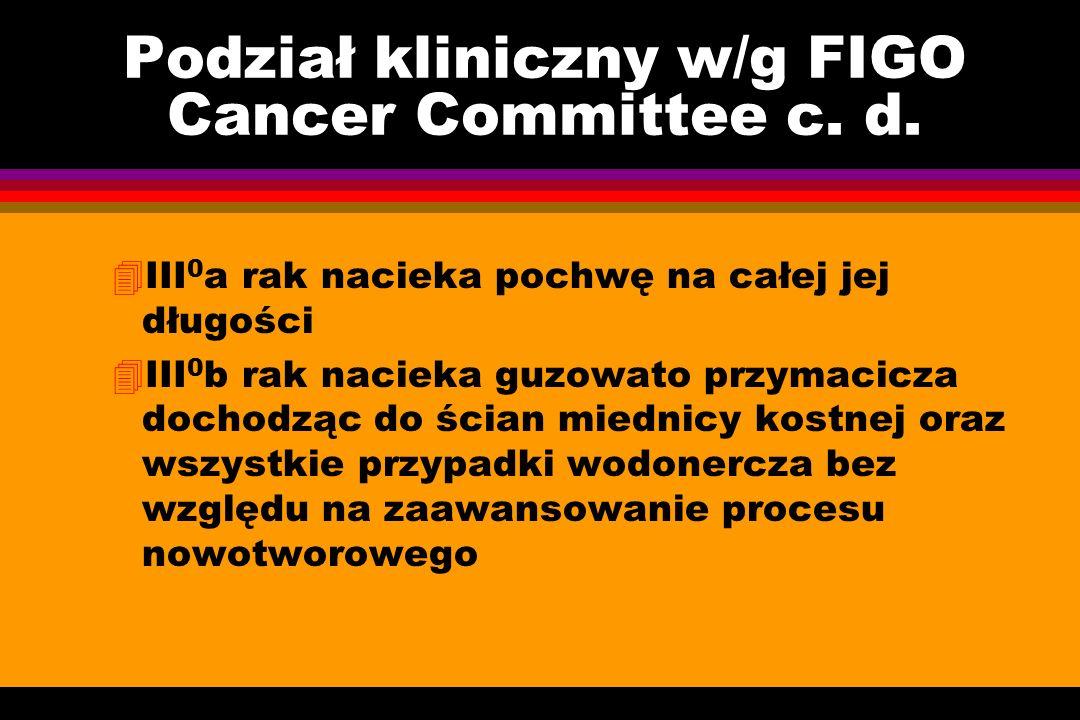 Podział kliniczny w/g FIGO Cancer Committee c. d.