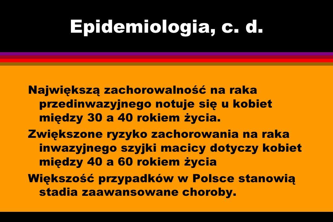 Epidemiologia, c. d. Największą zachorowalność na raka przedinwazyjnego notuje się u kobiet między 30 a 40 rokiem życia.