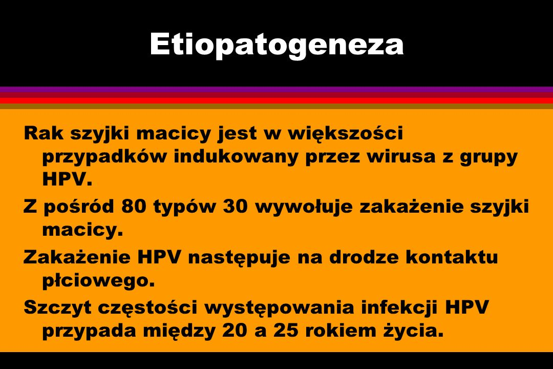 Etiopatogeneza Rak szyjki macicy jest w większości przypadków indukowany przez wirusa z grupy HPV.