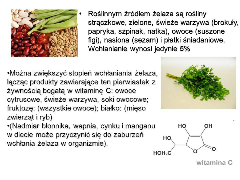 Roślinnym źródłem żelaza są rośliny strączkowe, zielone, świeże warzywa (brokuły, papryka, szpinak, natka), owoce (suszone figi), nasiona (sezam) i płatki śniadaniowe. Wchłanianie wynosi jedynie 5%