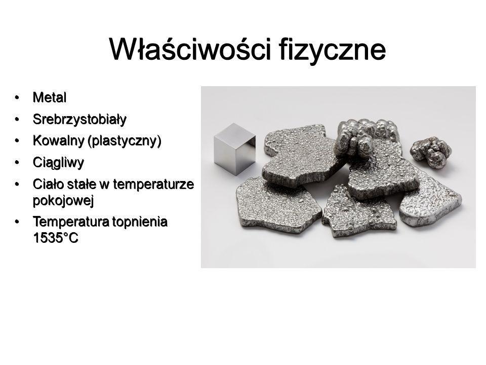 Właściwości fizyczne Metal Srebrzystobiały Kowalny (plastyczny)