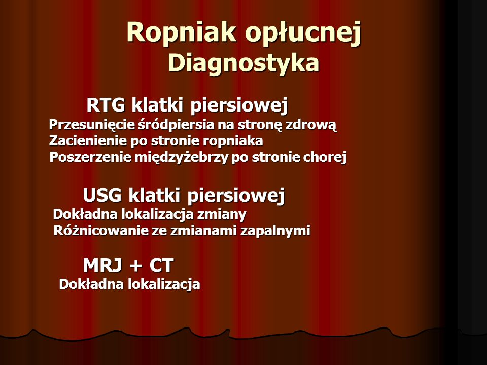 Ropniak opłucnej Diagnostyka
