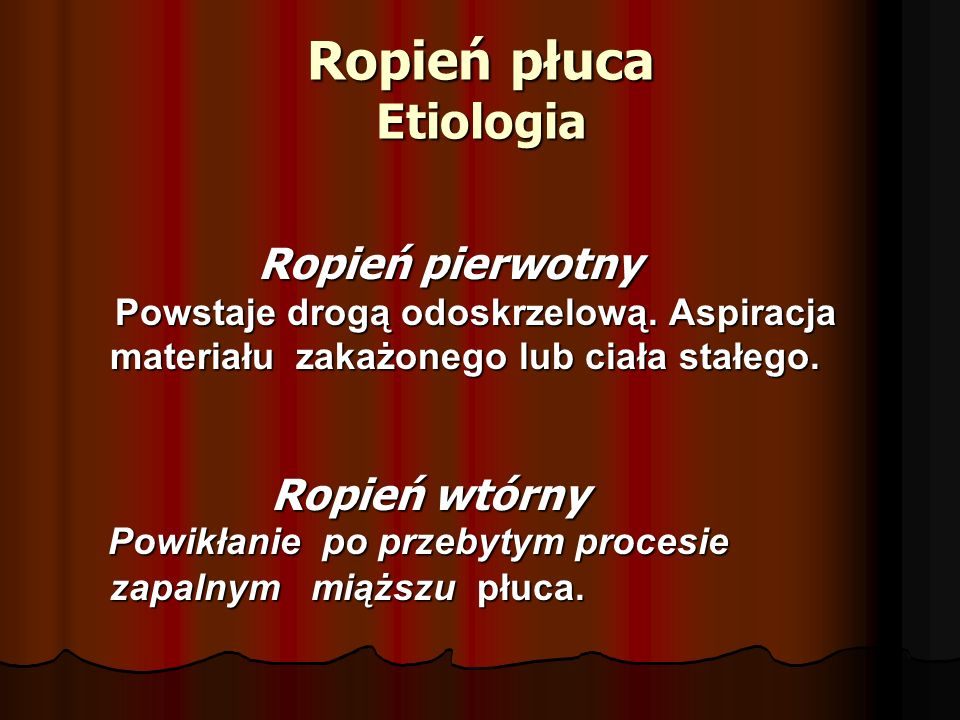 Ropień płuca Etiologia
