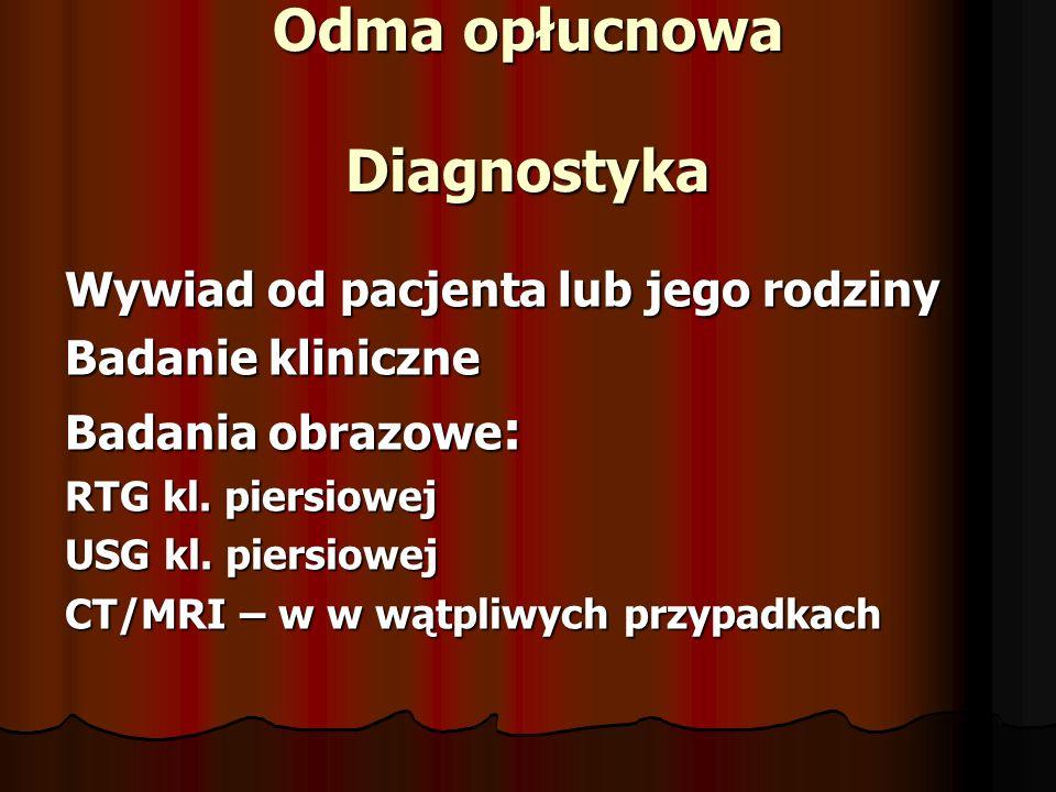 Odma opłucnowa Diagnostyka