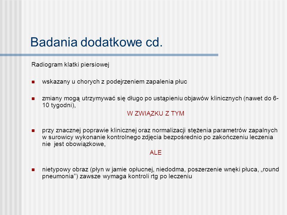 Badania dodatkowe cd. Radiogram klatki piersiowej
