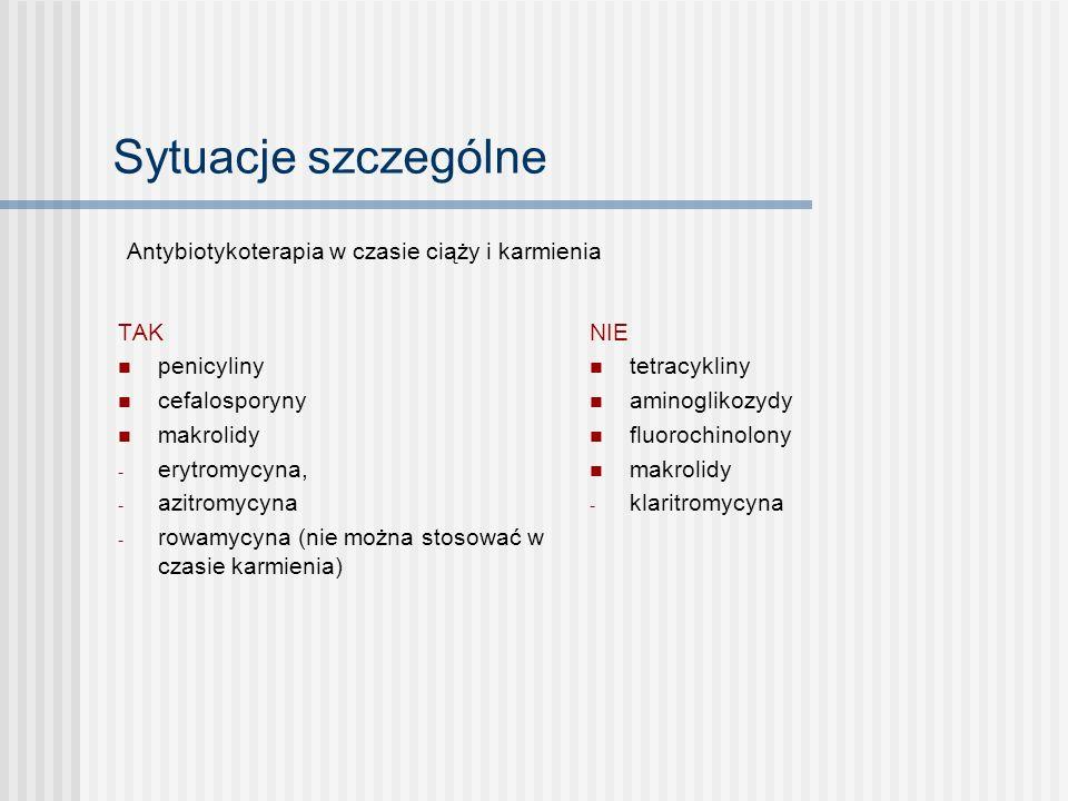 Sytuacje szczególne Antybiotykoterapia w czasie ciąży i karmienia TAK