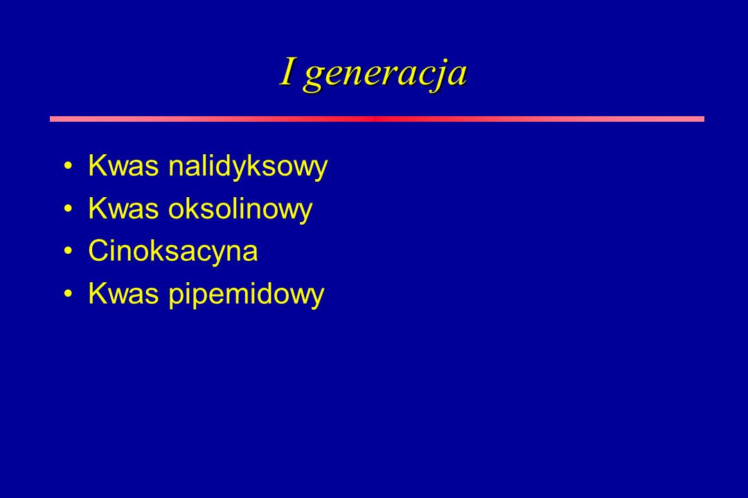 I generacja Kwas nalidyksowy Kwas oksolinowy Cinoksacyna