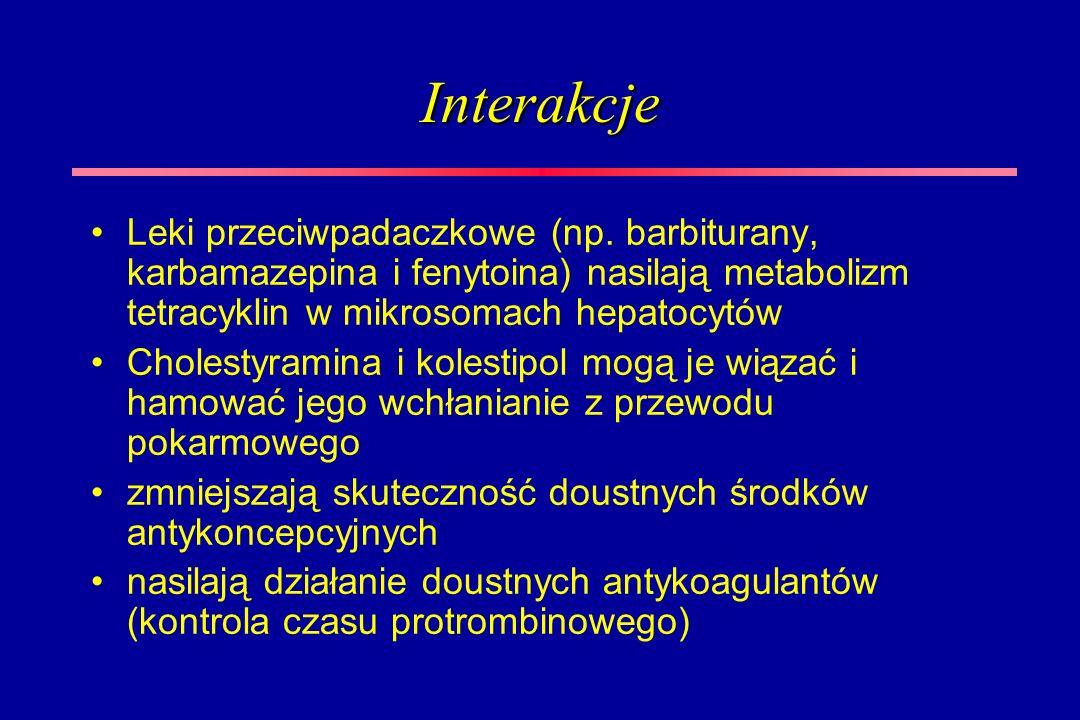 Interakcje Leki przeciwpadaczkowe (np. barbiturany, karbamazepina i fenytoina) nasilają metabolizm tetracyklin w mikrosomach hepatocytów.