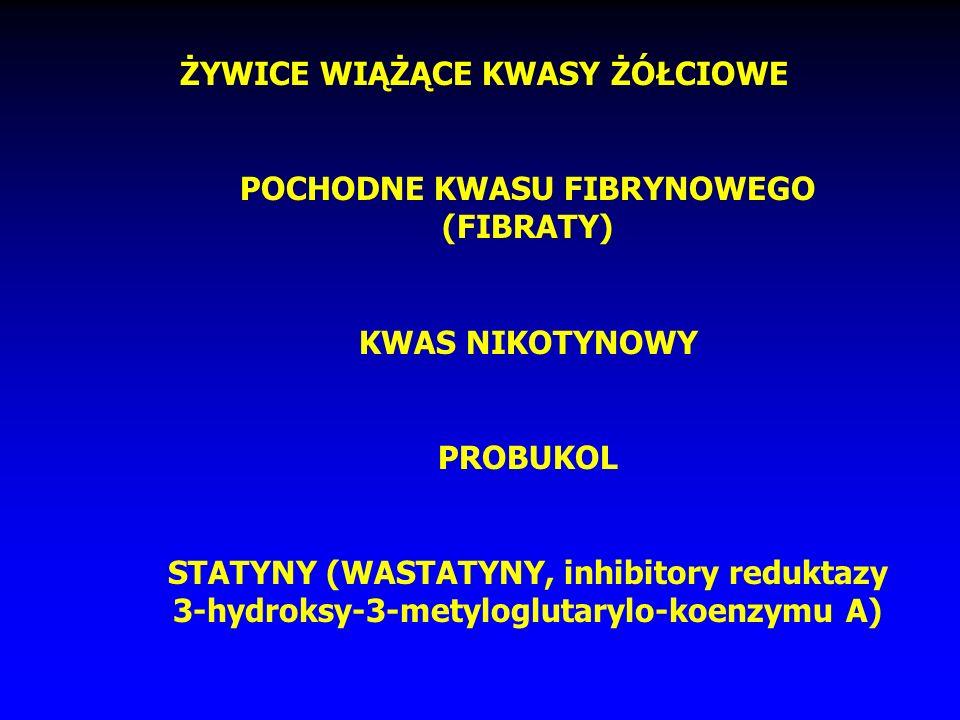 ŻYWICE WIĄŻĄCE KWASY ŻÓŁCIOWE POCHODNE KWASU FIBRYNOWEGO (FIBRATY) KWAS NIKOTYNOWY PROBUKOL STATYNY (WASTATYNY, inhibitory reduktazy 3-hydroksy-3-metyloglutarylo-koenzymu A)