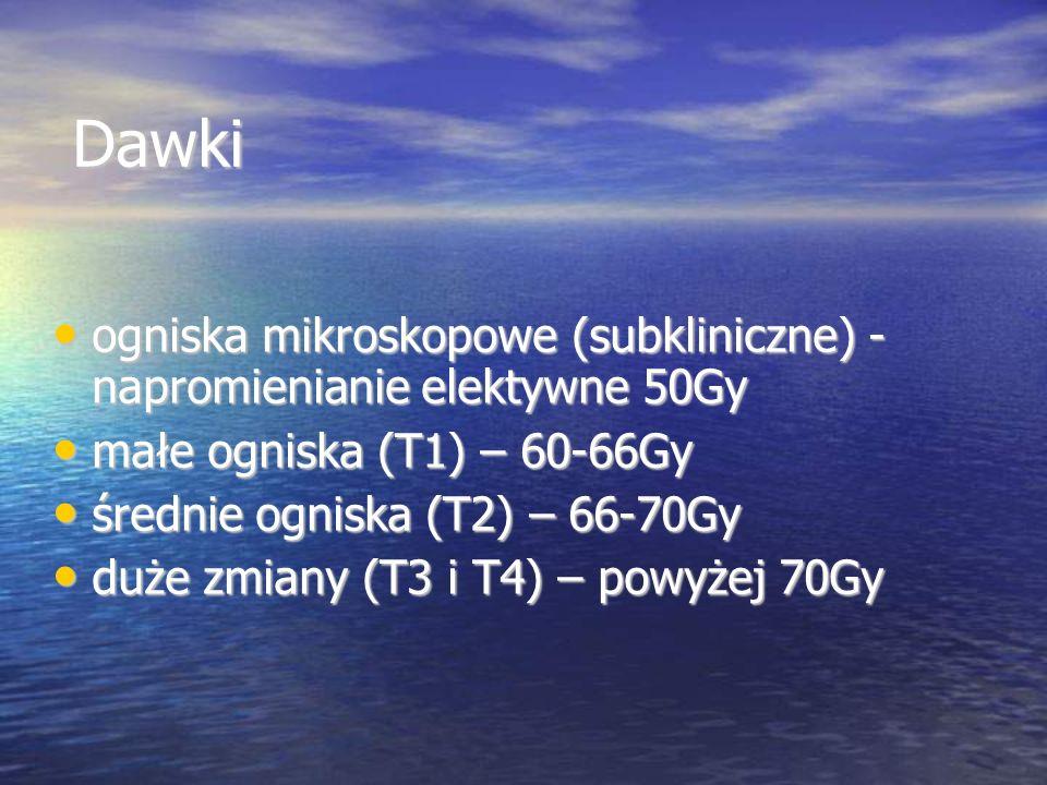 Dawki ogniska mikroskopowe (subkliniczne) - napromienianie elektywne 50Gy. małe ogniska (T1) – 60-66Gy.