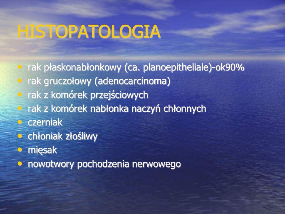 HISTOPATOLOGIA rak płaskonabłonkowy (ca. planoepitheliale)-ok90%