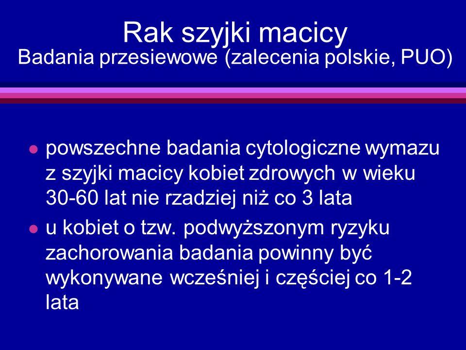 Rak szyjki macicy Badania przesiewowe (zalecenia polskie, PUO)
