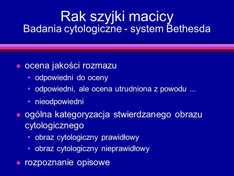 Rak szyjki macicy Badania cytologiczne - system Bethesda