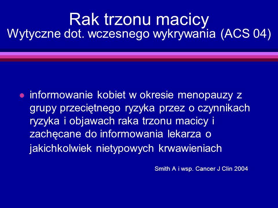 Rak trzonu macicy Wytyczne dot. wczesnego wykrywania (ACS 04)
