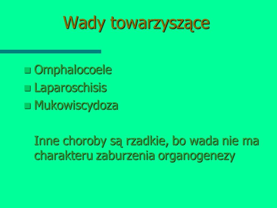 Wady towarzyszące Omphalocoele Laparoschisis Mukowiscydoza