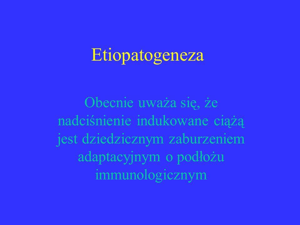 Etiopatogeneza Obecnie uważa się, że nadciśnienie indukowane ciążą jest dziedzicznym zaburzeniem adaptacyjnym o podłożu immunologicznym.