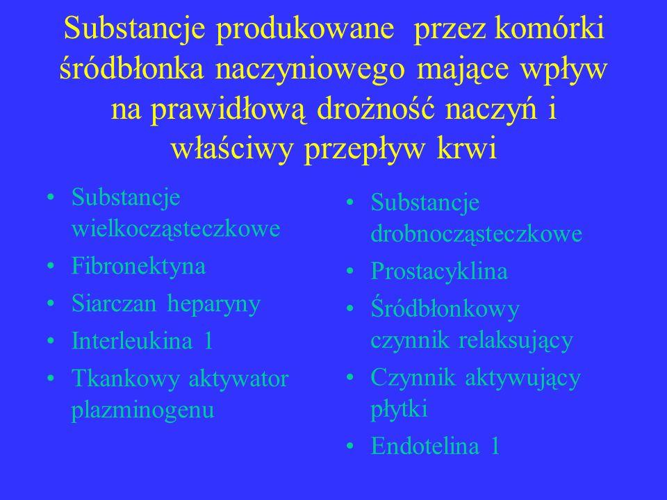 Substancje produkowane przez komórki śródbłonka naczyniowego mające wpływ na prawidłową drożność naczyń i właściwy przepływ krwi