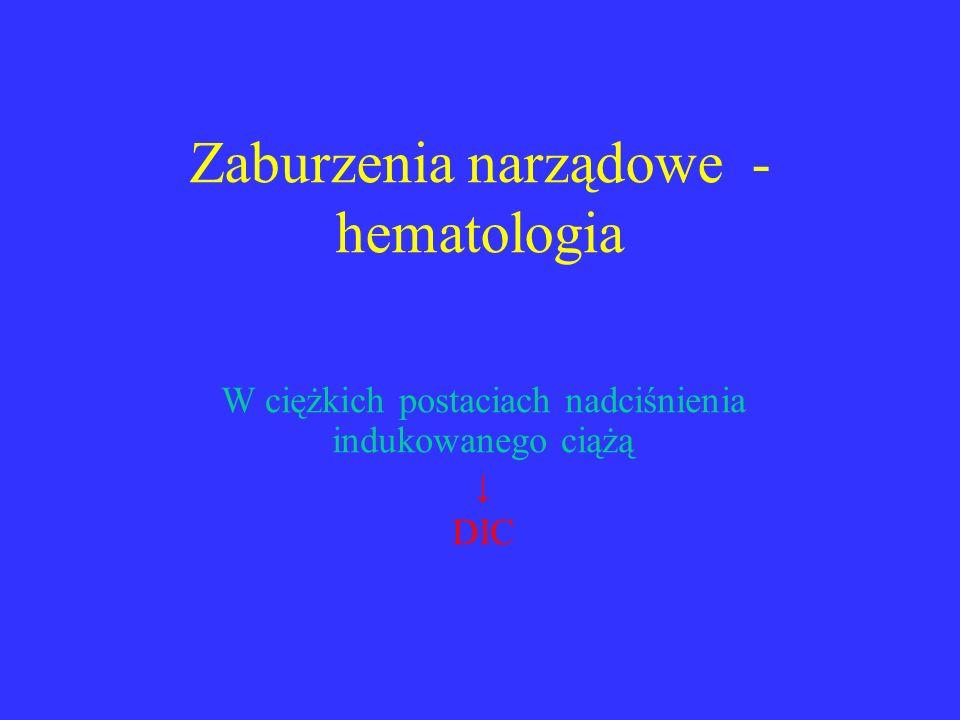 Zaburzenia narządowe - hematologia