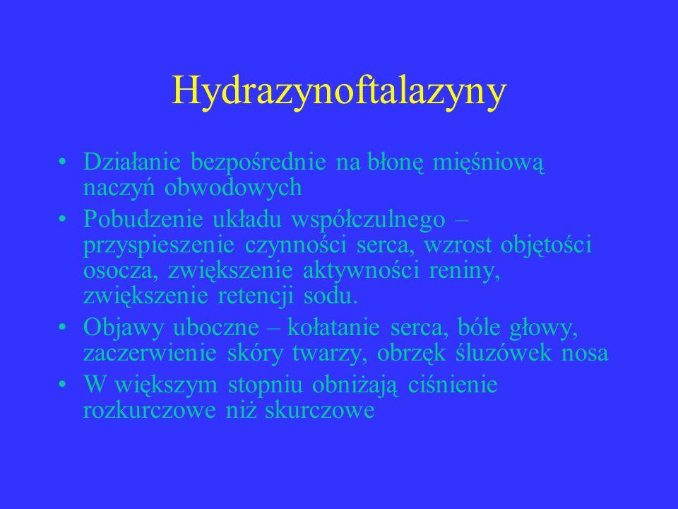 Hydrazynoftalazyny Działanie bezpośrednie na błonę mięśniową naczyń obwodowych.