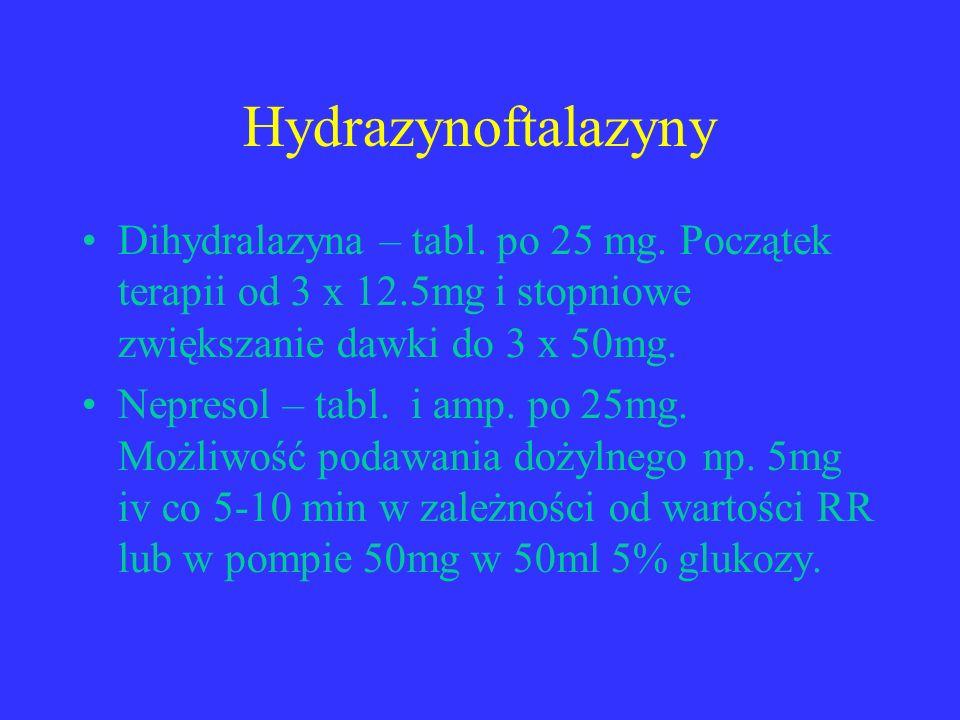 Hydrazynoftalazyny Dihydralazyna – tabl. po 25 mg. Początek terapii od 3 x 12.5mg i stopniowe zwiększanie dawki do 3 x 50mg.