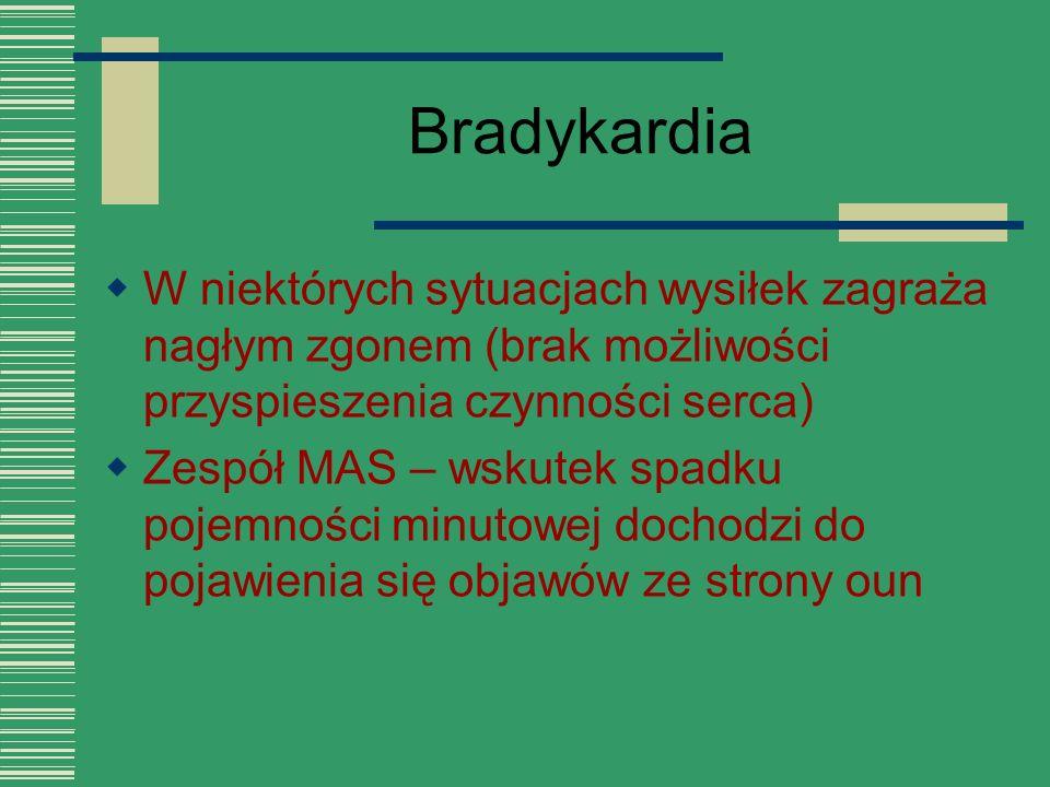 Bradykardia W niektórych sytuacjach wysiłek zagraża nagłym zgonem (brak możliwości przyspieszenia czynności serca)