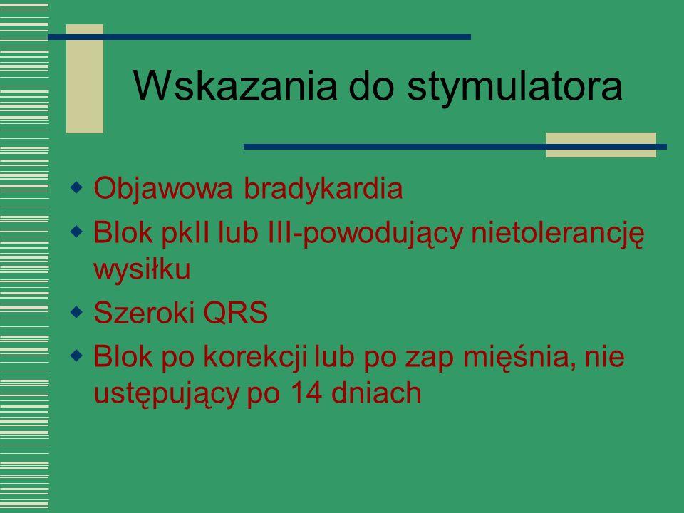 Wskazania do stymulatora