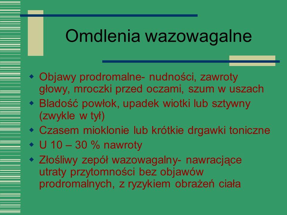 Omdlenia wazowagalne Objawy prodromalne- nudności, zawroty głowy, mroczki przed oczami, szum w uszach.