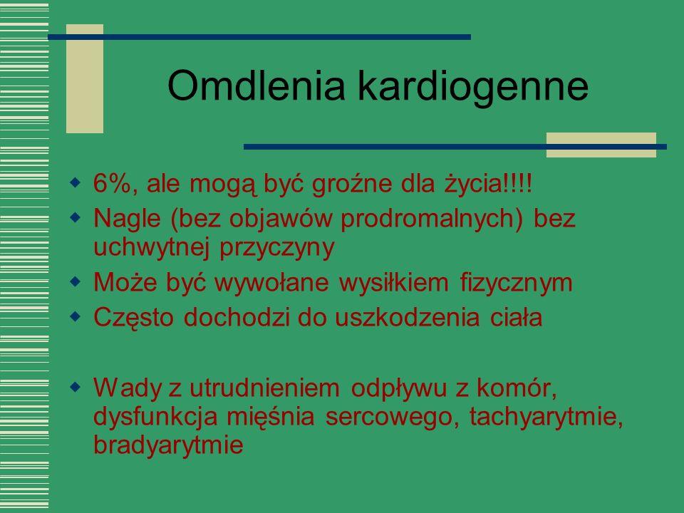 Omdlenia kardiogenne 6%, ale mogą być groźne dla życia!!!!