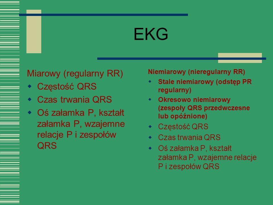 EKG Miarowy (regularny RR) Częstość QRS Czas trwania QRS