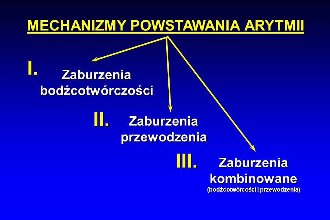 MECHANIZMY POWSTAWANIA ARYTMII (bodźcotwórcości i przewodzenia)