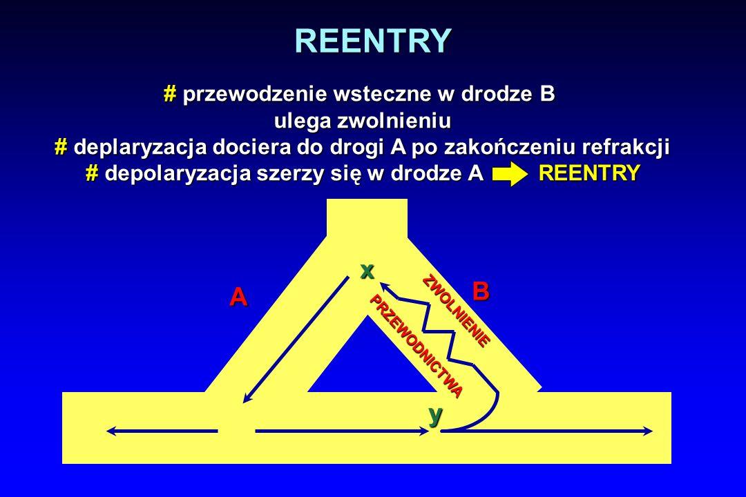 REENTRY x B A y # przewodzenie wsteczne w drodze B ulega zwolnieniu