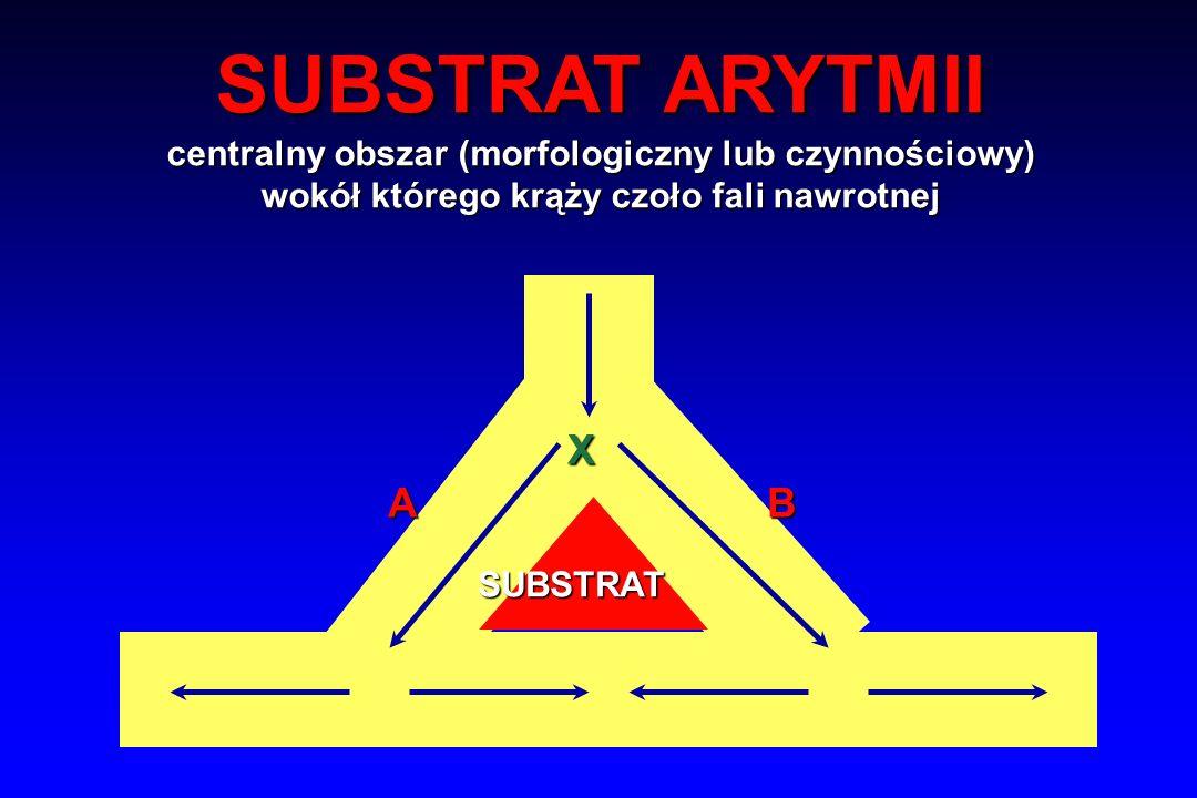 SUBSTRAT ARYTMII centralny obszar (morfologiczny lub czynnościowy) wokół którego krąży czoło fali nawrotnej.