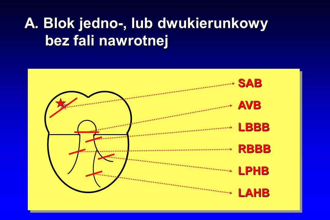 A. Blok jedno-, lub dwukierunkowy bez fali nawrotnej