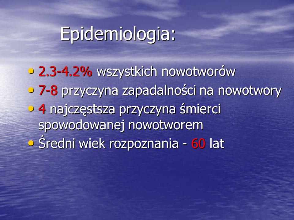 Epidemiologia: 2.3-4.2% wszystkich nowotworów