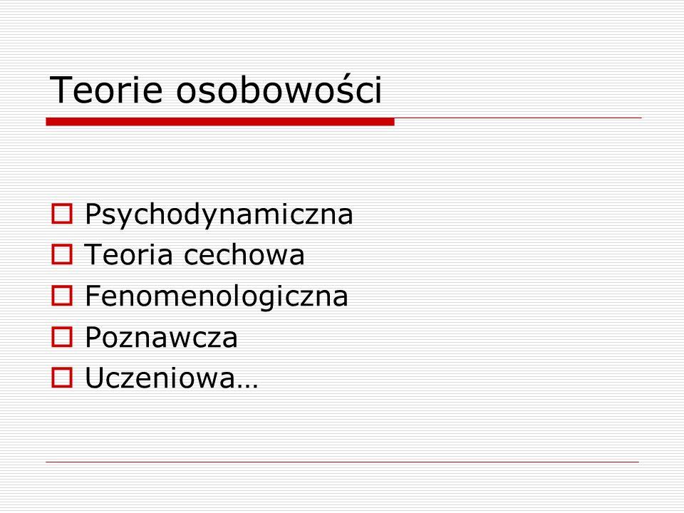 Teorie osobowości Psychodynamiczna Teoria cechowa Fenomenologiczna