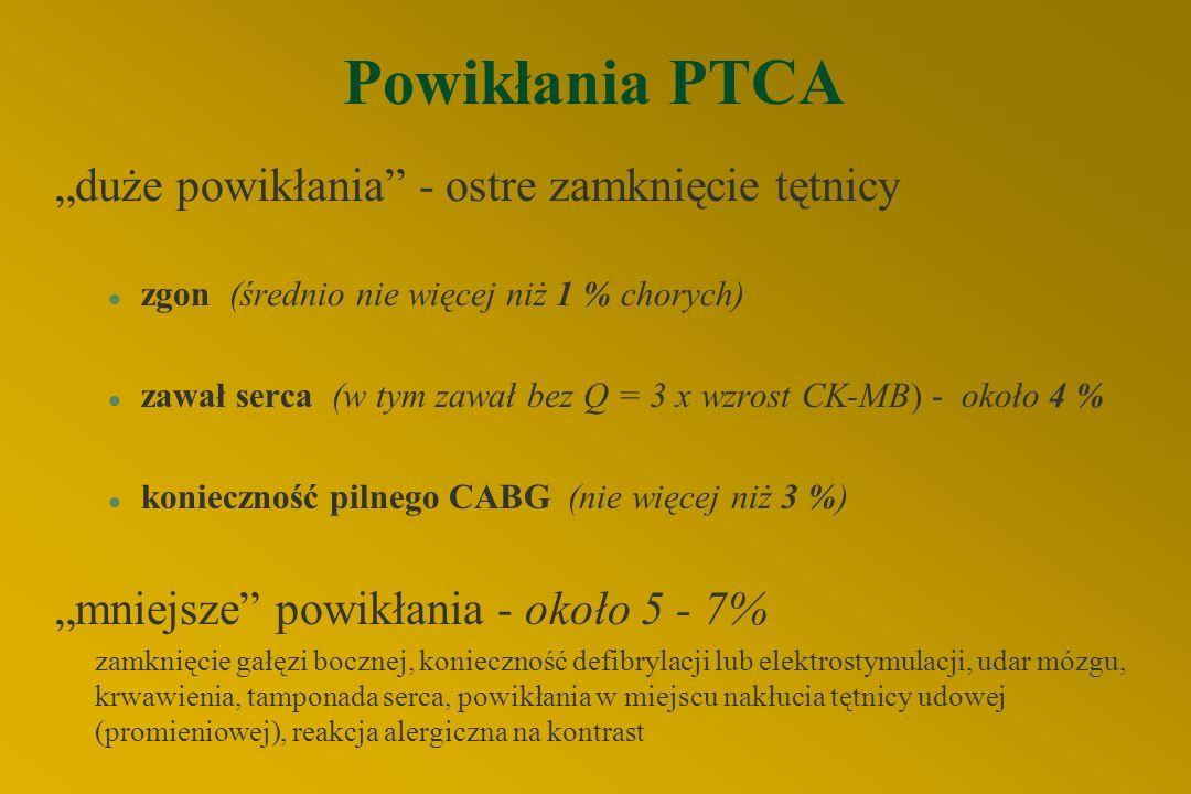 """Powikłania PTCA """"duże powikłania - ostre zamknięcie tętnicy"""