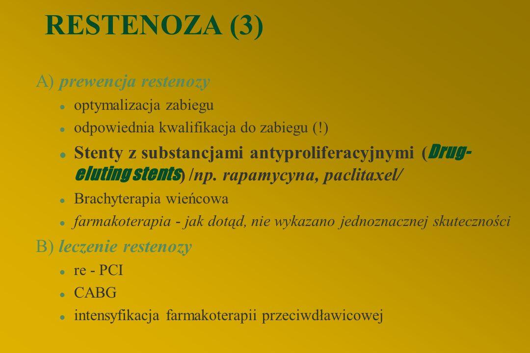 RESTENOZA (3) A) prewencja restenozy