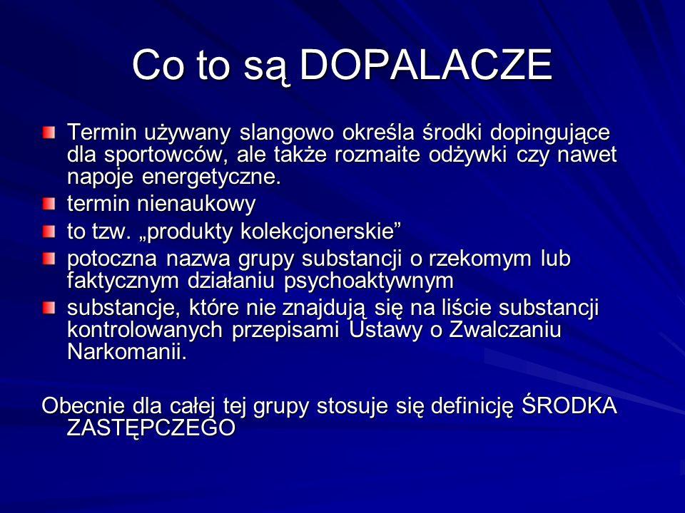 Co to są DOPALACZETermin używany slangowo określa środki dopingujące dla sportowców, ale także rozmaite odżywki czy nawet napoje energetyczne.