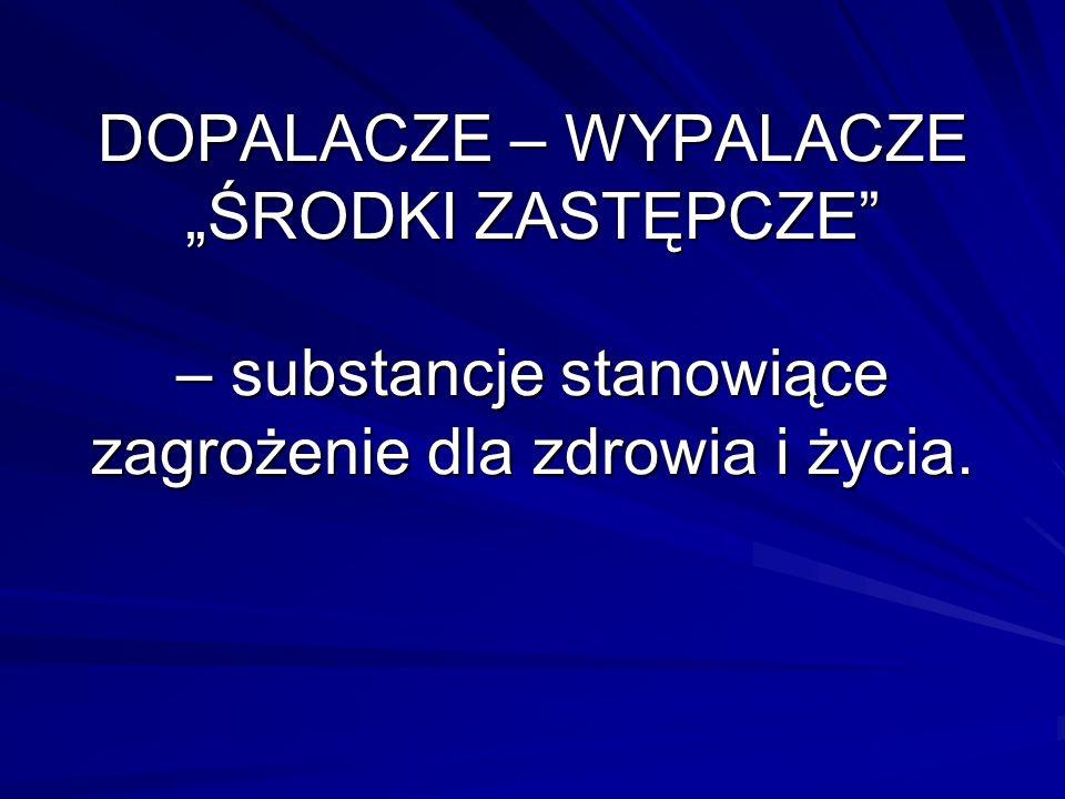 """DOPALACZE – WYPALACZE """"ŚRODKI ZASTĘPCZE – substancje stanowiące zagrożenie dla zdrowia i życia."""