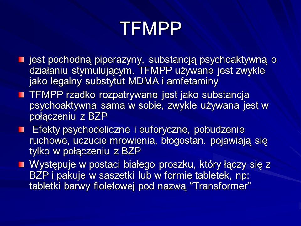 TFMPP jest pochodną piperazyny, substancją psychoaktywną o działaniu stymulującym. TFMPP używane jest zwykle jako legalny substytut MDMA i amfetaminy.