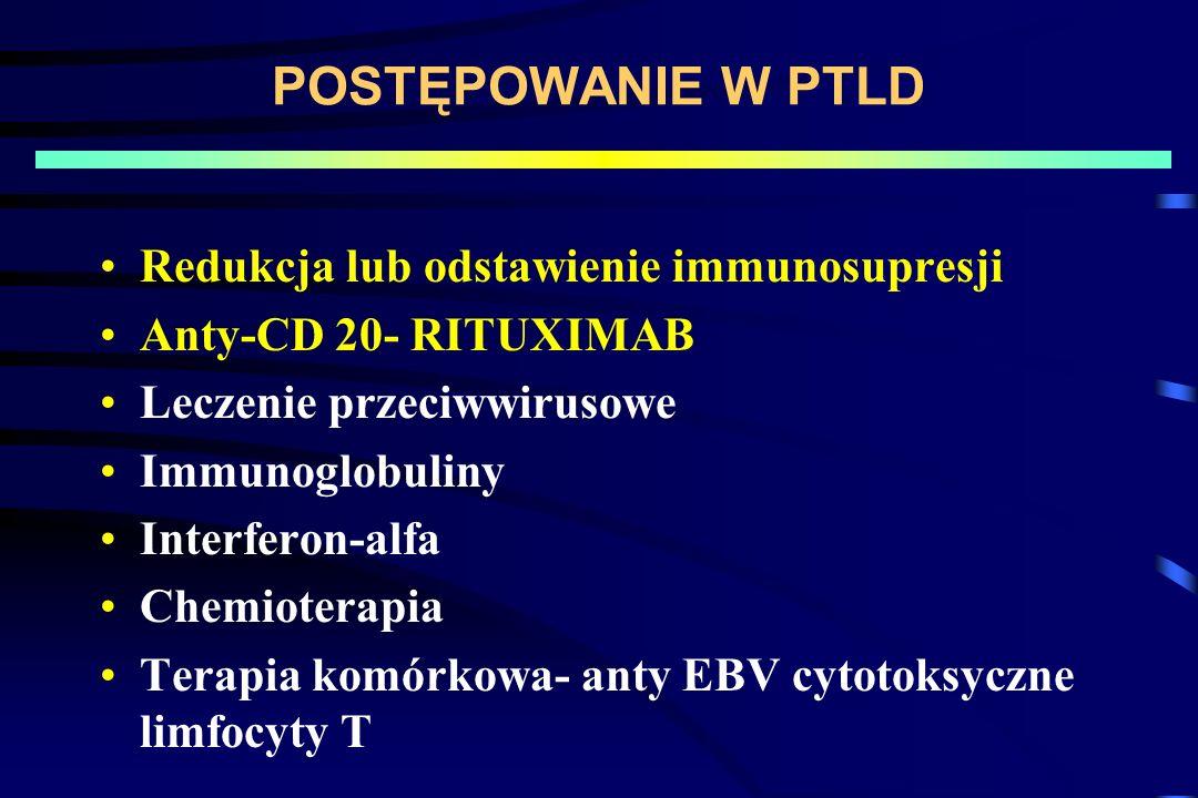 POSTĘPOWANIE W PTLD Redukcja lub odstawienie immunosupresji
